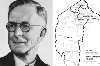 Charles Bean and the initial borders of the three new ACT electorates. The final determination moves the whole suburb of Phillip to Bean.