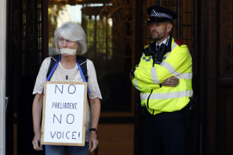 Anti-Brexit demonstrators gathered outside the court in London.
