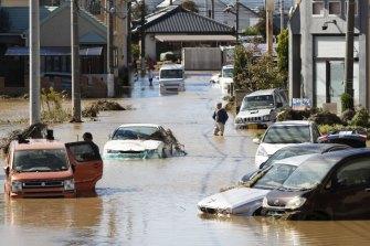 A street in Sano, Tochigi Prefecture, on Sunday.