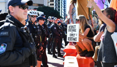 Police and protesters faced-off in the Brisbane CBD on Tuesday.