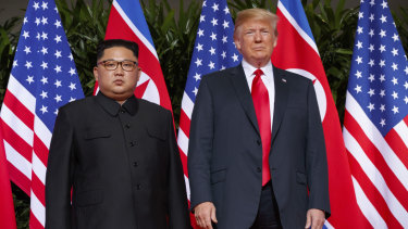 President Donald Trump meets with North Korean leader Kim Jong-un on Sentosa Island, in Singapore on June 12.