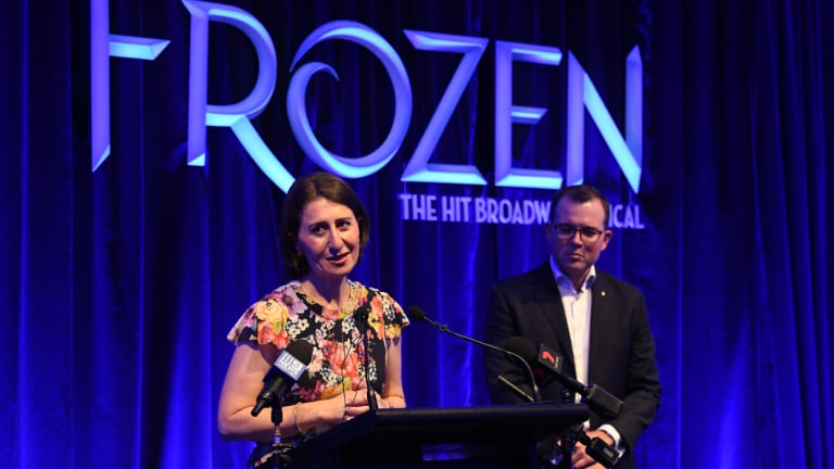 NSW Premier Gladys Berejiklian and NSW Minister for Tourism and Major Events Adam Marshall speak to the media at the Capitol Theatre in Sydney.