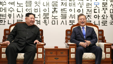 South Korean President Moon Jae-in, right, and North Korean leader Kim Jong-un at the Inter-Korean summit in Panmunjom in April.