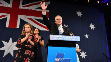 Scott Morrison celebrates his win on election night, a result the polls did not predict.