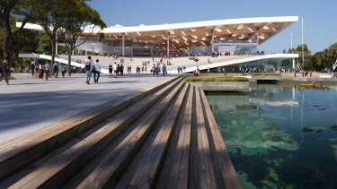 An artist's impression of the eastern entrance of the new Sydney Fish Market to be built on Bridge Road, Blackwattle Bay.