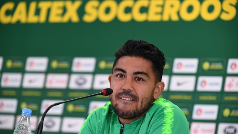 Massimo Luongo speaks to the media at their training base at the Stadium Trudovye Rezervy.