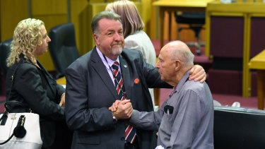 Cr Paul Tully (left) after the Ipswich City Council's final meeting at on Monday.