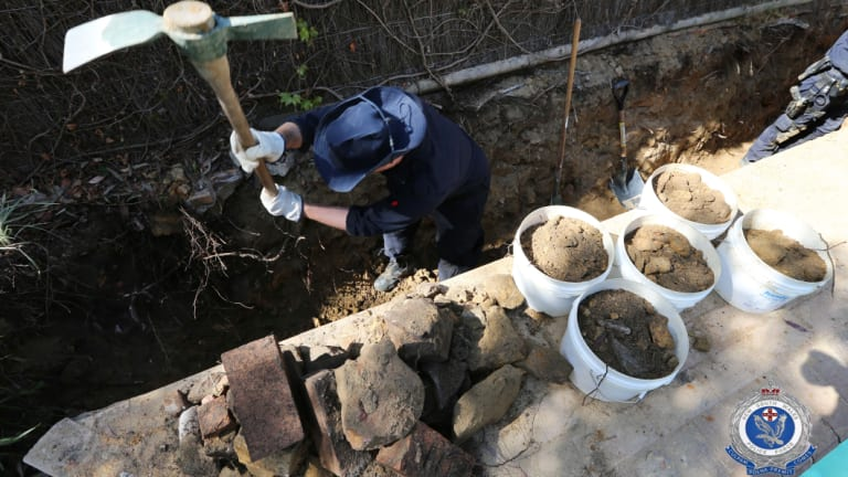 Police excavate the Bayview house in September this year, trying to find Mrs Dawson's body or items of interest.