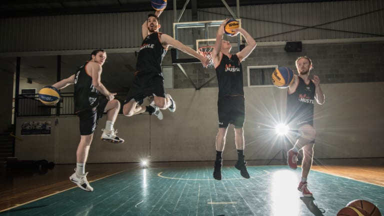 ACT Basketballers (from left) Dylan Simpson, Lachlan Ross, Tim Hewitt, and Reece Kaye.