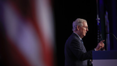 Senate Leader Mitch McConnelll speaks at the 2018 Values Voter Summit in September.