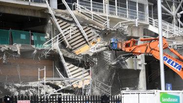 Demolition works underway at Allianz Stadium on Thursday.