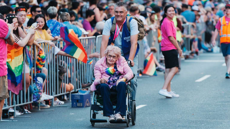 Daphne Dunne, 98, started attending the Sydney Mardi Gras only last year.