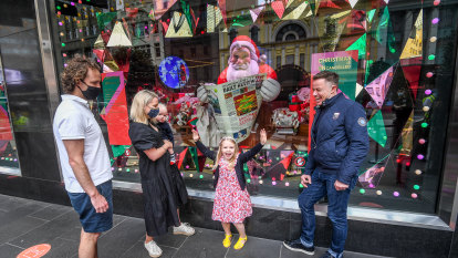 Familiar faces save the day in improbable 2020 Myer Christmas windows display