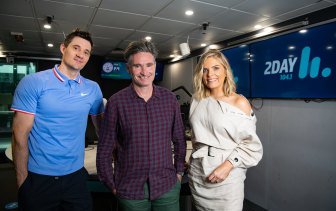 The new 2Day FM breakfast radio team hopes to make a dent in Kyle and Jackie O's ratings. From left, Ed Kavalee, Dave Hughes and Erin Molan.