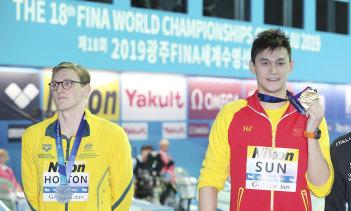 Mack Horton (left) and Sun Yang at last year's world swimming championships.