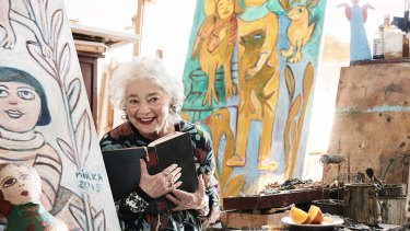 The late artist Mirka Mora in her Richmond studio, 2016.