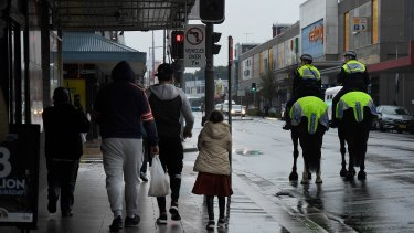 NSW Mounted Police patrol the streets of Fairfield.