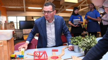 On track to win: Premier Daniel Andrews appeared relaxed as he visited a Cranbourne West school on the final day of campaigning.