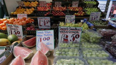 A fruit stall displays fruit at a market in London on Wednesday, August 7.