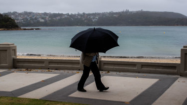 Not your usual beach umbrellas out at Balmoral on Sunday.