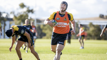 Brumbies back-rower David Pocock at training on Wednesday.