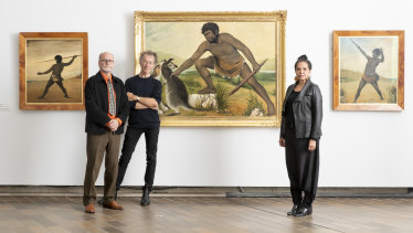 Co-curators of the exhibition, Professor Greg Lehman from the University of Tasmania and Dr Tim Bonyhady from the ANU, with National Gallery of Australia senior curator of Aboriginal and Torres Strait Islander Art Franchesca Cubillo.