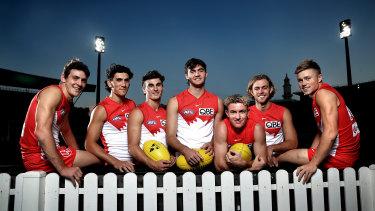 Swans young guns Errol Gulden, Justin McInerney, Sam Wicks, Logan McDonald, Chad Warner, James Rowbottom and Braeden Campbell.