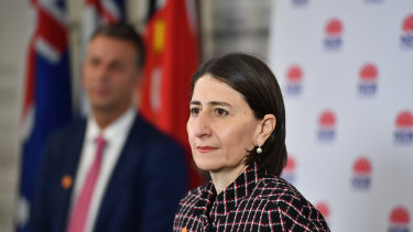 NSW Premier Gladys Berejiklian and Minister for Transport Andrew Constance at Monday's coronavirus briefing.
