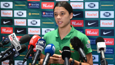 There was barely a media outlet not represented at Sam Kerr's press conference on Wednesday.