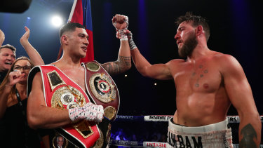 Jai Opetaia celebrates winning the National Boxing Series cruiserweight bout against Mark Flanagan at the Hordern Pavilion.