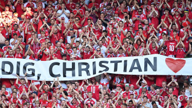 A tribute to Denmark's Christian Eriksen, who collapsed during his country's Euro 2020 opener against Finland.