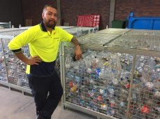 Some of the 1.6 billion containers returned by Queenslanders await recycling in West End.