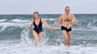 Mikhail and Natasha Anossovitch are keeping up the cold watrer swimming they started during lockdown.