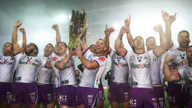 Melbourne Storm winning last year's grand final.