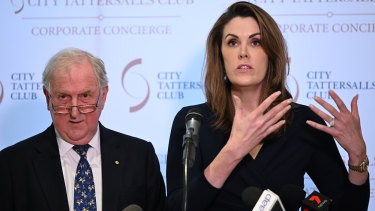 Peta Credlin, with Donnelly, speaks the book launch.