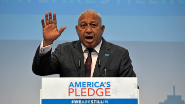 Strong words: Fiji Prime Minister Frank Bainimarama at COP23 climate change conference in Bonn, Germany in 2017.