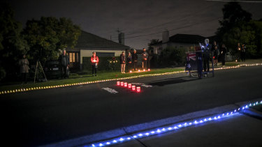 Residents of Clara Street in Macleod set up a makeshift stage for a dawn service.