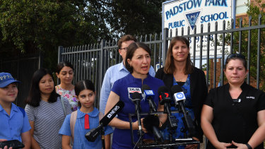 Gladys Berejiklian holds a press conference outside Padstow Park Public School on Monday.