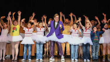 Sir Elton John joined the cast of Billy Elliot on stage in Sydney on Thursday.