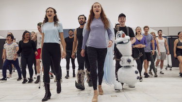 Courtney Monsma (left), who plays Anna, and Jemma Rix, who plays Elsa,  in rehearsals for Frozen the Musical.