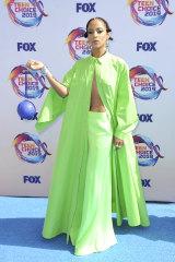 Actress Megalyn Echikunwoke embodies the neon trend at last week's Teen Choice Awards.