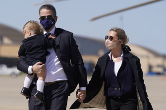 Hunter with his wife, Melissa Cohen,  and their young son, Beau, in March.