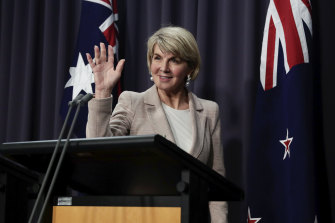 Then foreign affairs minister Julie Bishop in Canberra on August 22.