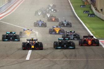Max Verstappen leads the way early from Lewis Hamilton in Bahrain.