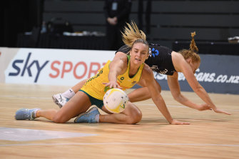 Diamonds captain Liz Watson in action against New Zealand at the Constellation Cup in March.