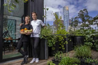 Our home for three months: Chefs Matt Stone and Jo Barrett at the sustainable house at Federation Square called Greenhouse By Joost.
