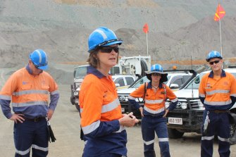 Incitec Pivot CEO Jeanne Johns, centre, addresses staff at a mine in Queensland. The company released N2O gas from one of its plants in the state that makes explosives for the mining industry.