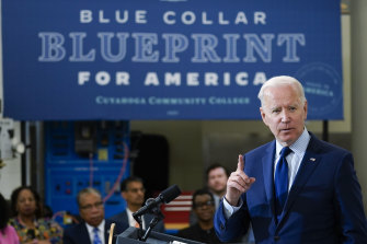 US President Joe Biden delivers a speech on the economy at the Cuyahoga Community College Metropolitan Campus in Cleveland on Thursday.