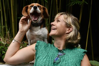 Zali Steggall, with her beagle, Charlie, spoke at an Independents' conference from her home via Zoom on Saturday.