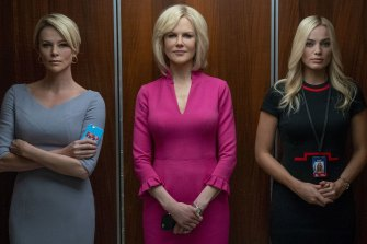 Charlize Theron as Megyn Kelly, Nicole Kidman as Gretchen Carlson, and Margot Robbie as the composite character Kayla in Bombshell.